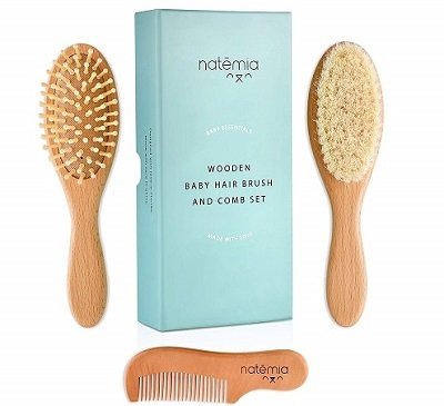 Natemia-Premium-Wooden-Baby-Hair-Brush-and-Comb-Set-Natural-Soft-Bristles-Ideal-for-Cradle-Cap-Perfect-Baby-Registry-Gift