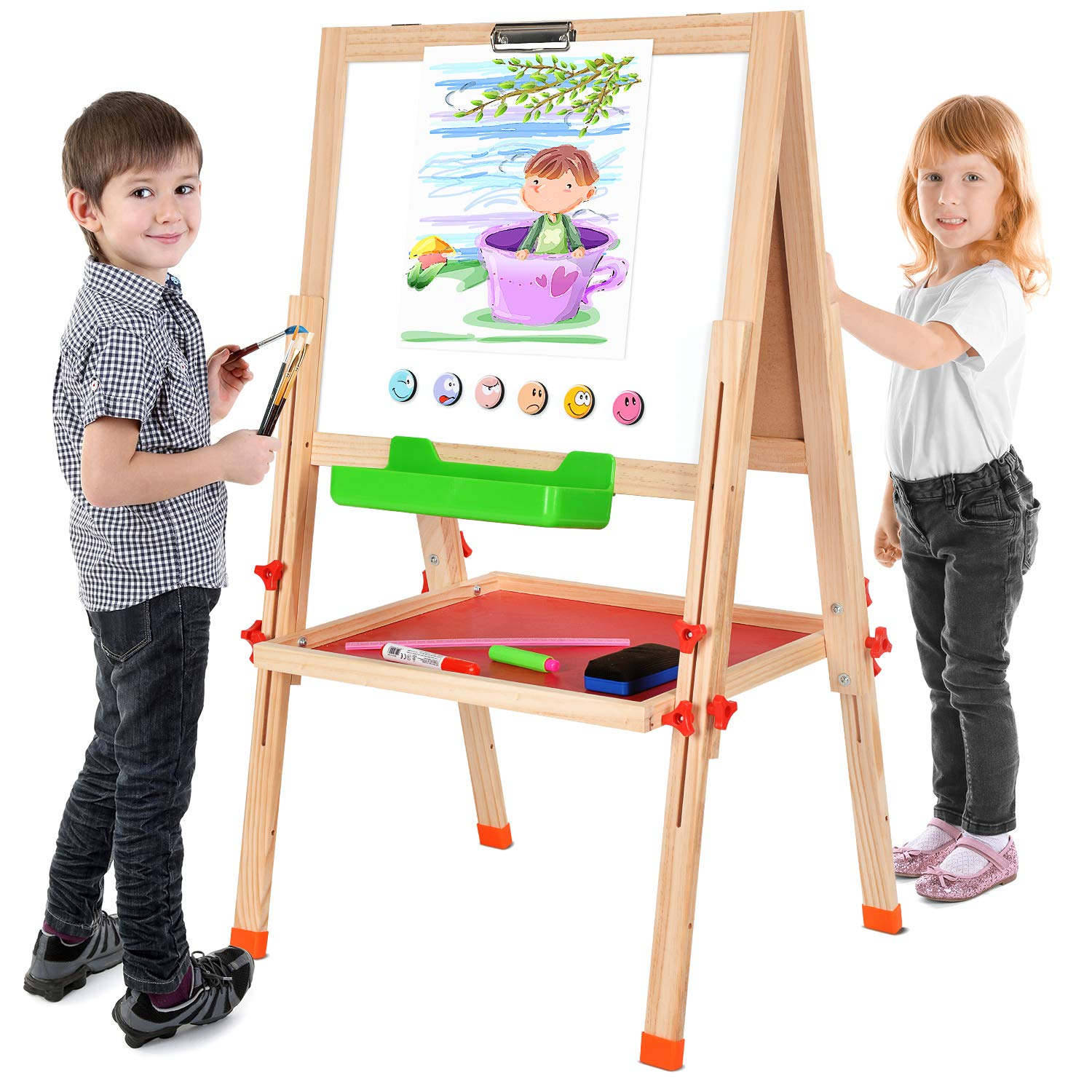 BATTOP Double Sided Adjustable Kids Easel